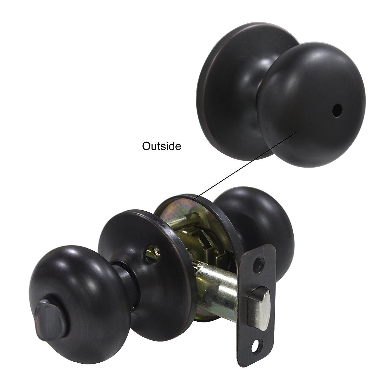 6 pack Probrico Interior Bathroom Privacy Keyless Doorknobs Door Lock Lockset 609-ORB-BK in Oil Rubbed Bronze