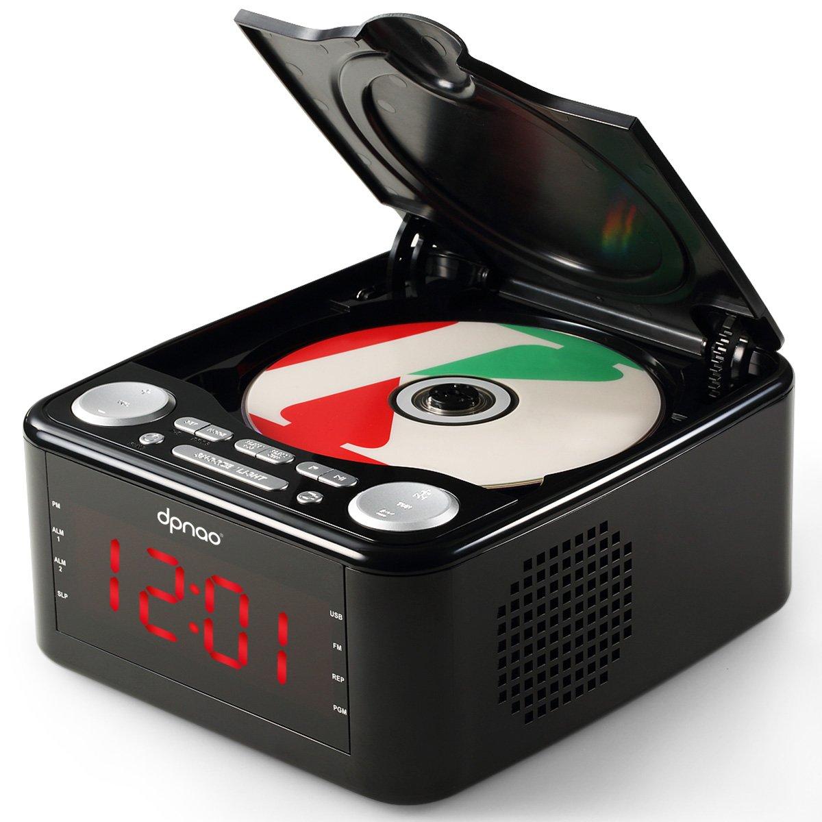 DPNAO CD Player with USB FM Radio Clock Dual Alarm Remote Headphone Home Audio System (Black) Citygrow YW-010-BLACK