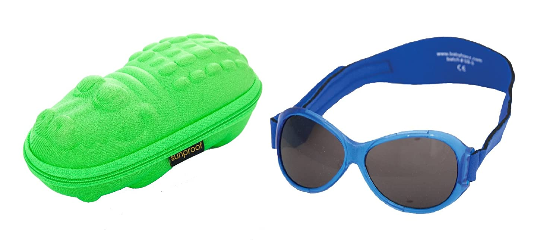 ab60795ccc7f77 Lunettes de soleil BabyBanz Retro- Bébé 0 à 24 mois , Bleu, et un étui  lunettes de soleil Yoccoes - en forme de Croc Vert  Amazon.fr  Vêtements et  ...
