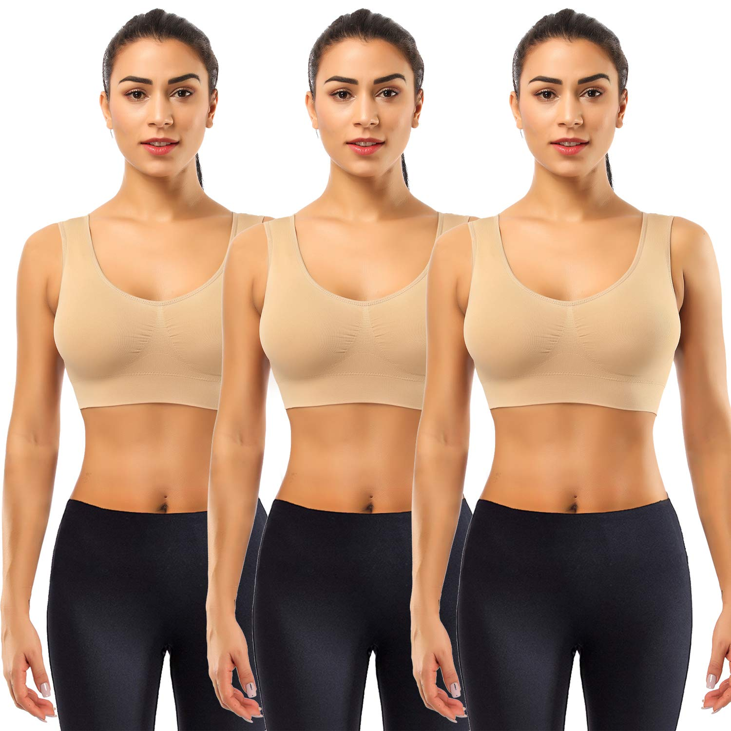 BESTENA Sports Bras for Women, 3 Pack Seamless Comfortable Yoga Bra with Removable Pads(Nude,Small)