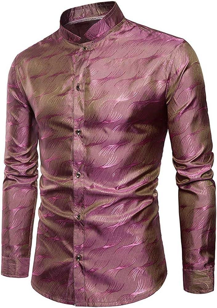YIMANIE Mens Regular Fit Long Sleeve Shiny Silk Like Satin Dance Prom Luxury Dress Shirt Camouflage Tops