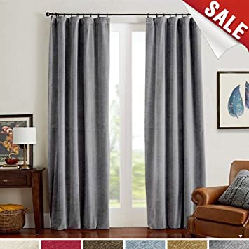 Grey Velvet Curtains Half Blackout Drapes For Bedroom Rod Pocket Thermal Insulated 1 Panel