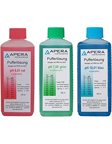 apera Instruments PH Calibración Soluciones 4.0.1/7.00/10.01 250 ml cada uno