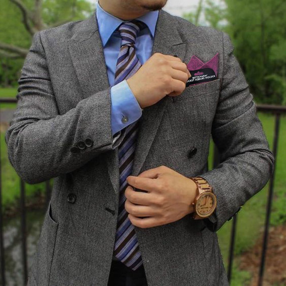 BettiCharm Slim Pocket Square Holders, Men's Suit Handkerchiefs Keeper/Organizer (5 Pack) by BettiCharm (Image #6)