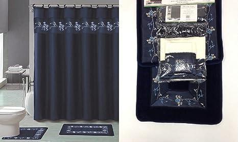 18 piezas Juego de alfombra de baño azul marino y beige diseño de flores baño alfombra