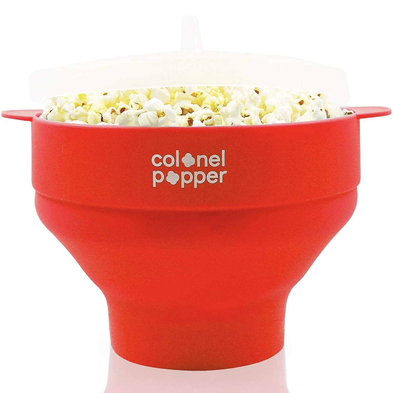 Colonel Popper Microwave Popcorn Popper Maker - Silicone Hot Air Pop Corn Bowl (Red)