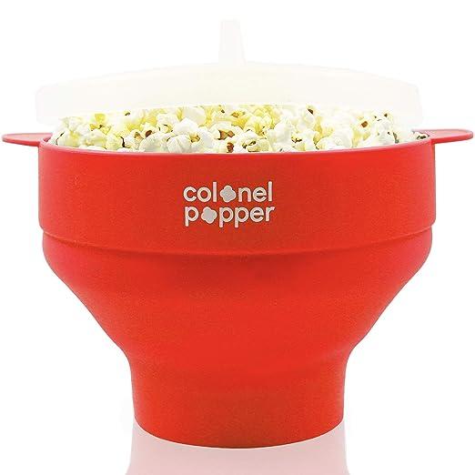 Colonel Popper microondas palomitas popper - tazón de palomitas de maíz de aire caliente de silicona (rojo)