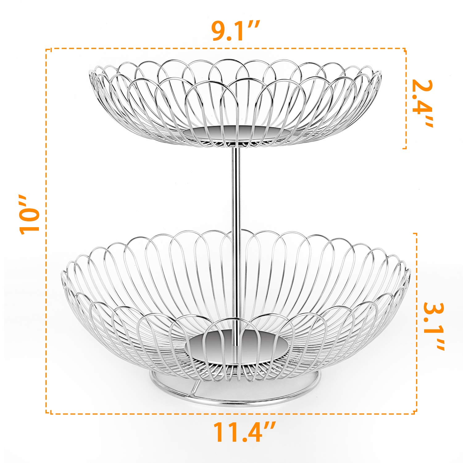 Stainless Steel 2 Tier Wire Fruit Basket Bowl for Kitchen Counter Stand with Bread by LANEJOY (Image #4)