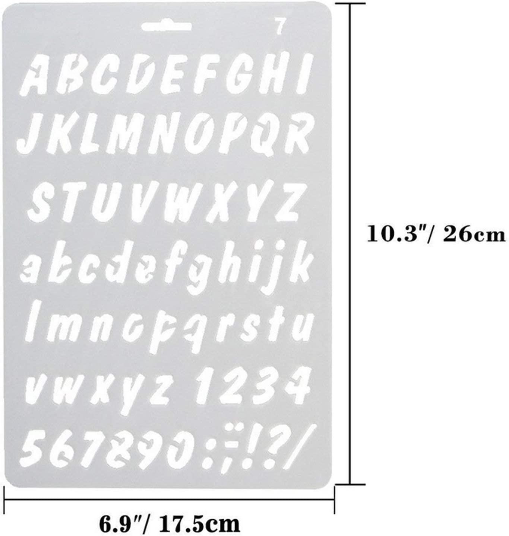 4pcs lettres peignent des figures en plastique de style assorties et des lettres dart dessinant le dessin au pochoir
