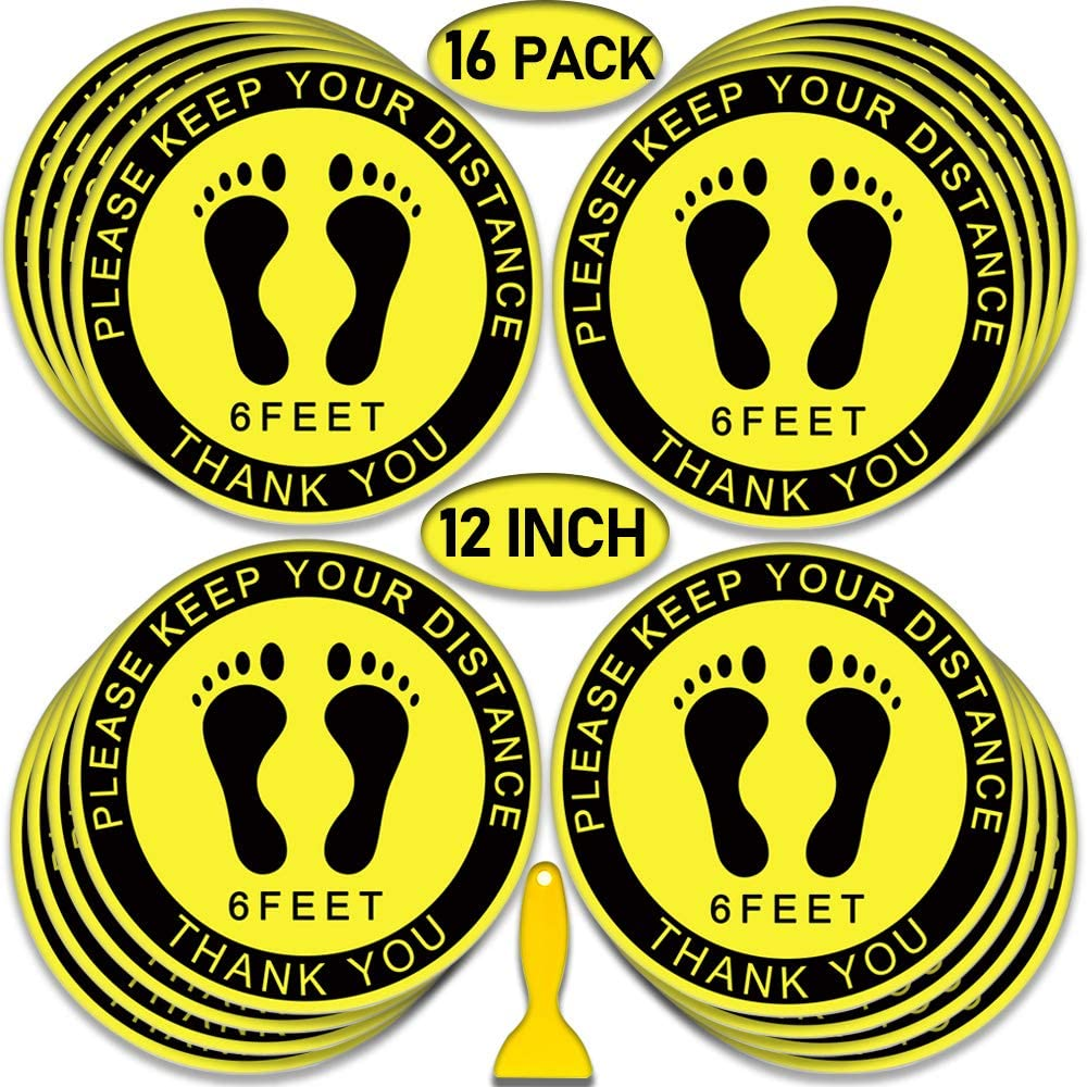 Hearing Double Protection Required Floor Decals Yellow Black Anti-Slip Round Shape Industrial /& Craft Signs Stickers 36Inches Longer Side