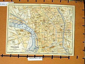 Toulouse Karte.Karte Fluss 1912 Strassen Plan Stadt Toulouse Frankreich Garonne