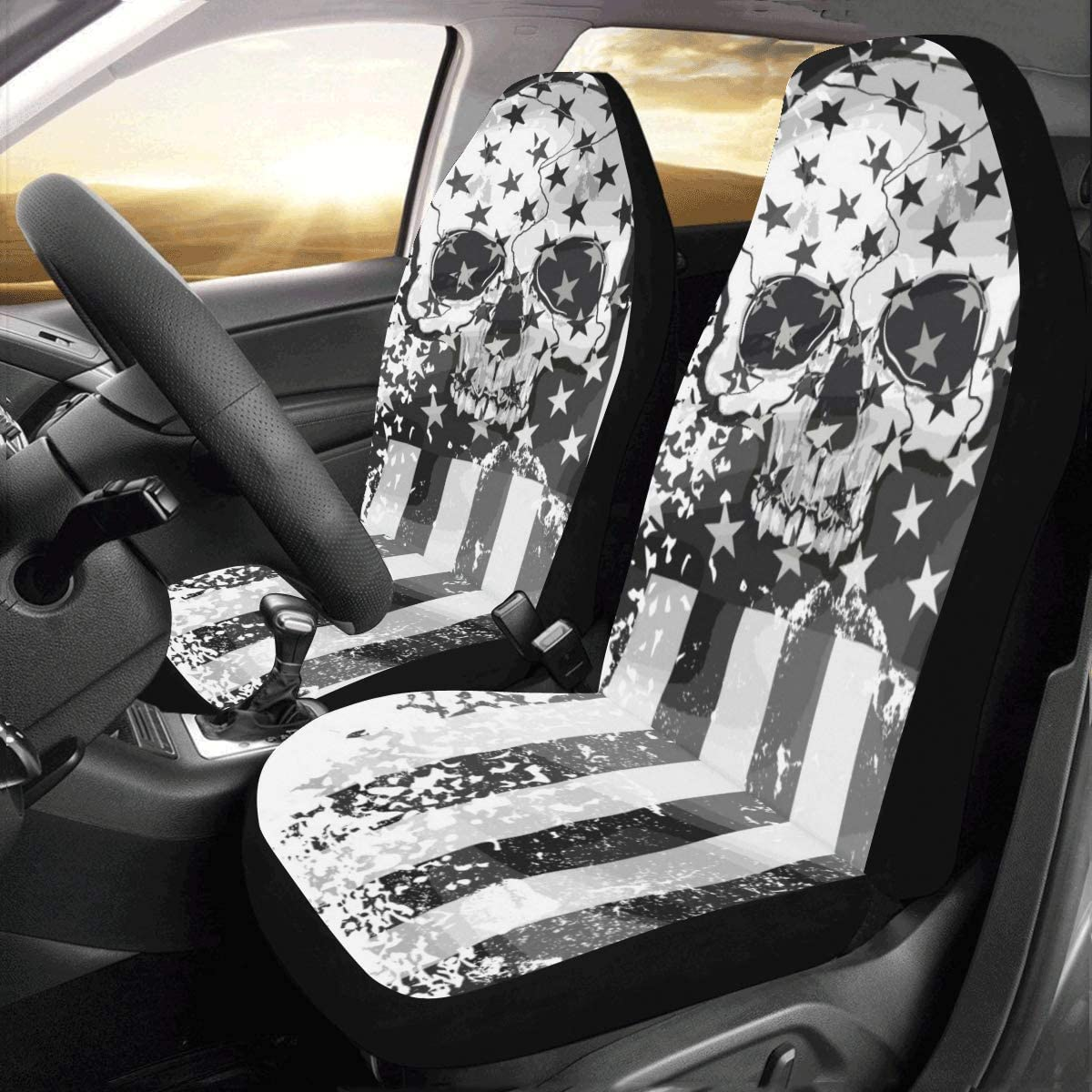 Amazon Com Interestprint Front Car Seat Covers 2 Pcs Skull Flag Vehicle Seat Protector Polyester Cloth Fabric Mat Covers Auto Seat Cushion Universal Fit Most Cars Sedan Truck Suv Van For Women Men