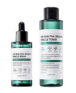 Somebymi AHA BHA PHA Miracle Toner & Serum Set (150ml+50ml) Anti-acne Exfoliation Hydration Brightening