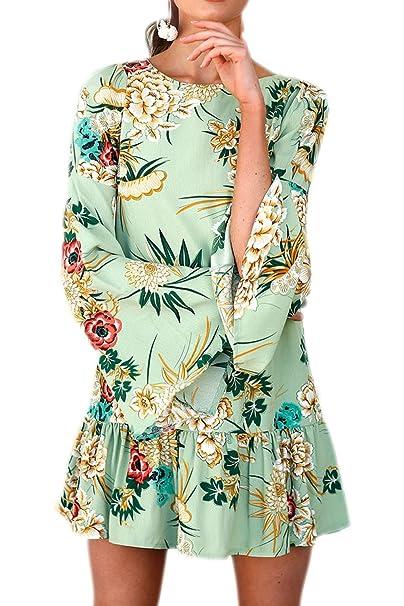Frauen Elegant Lange Trompete Ärmel Blumenmustern Rüschen Swing - Party -  Kleid Green S