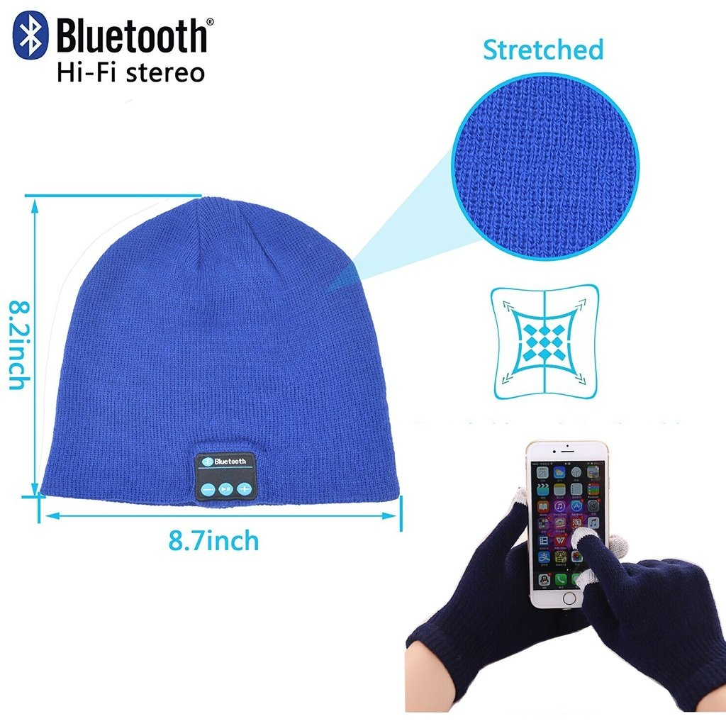 Fone-Case Samsung Galaxy J1 / Galaxy J1 4G (Blue) Wireless Bluetooth Beanie Hat with Stereo Headphones Headset Speaker Hands-Free Buit-In and Touchscreen Gloves with 3 Fingers Silver Coated Nylon Fibre Tips