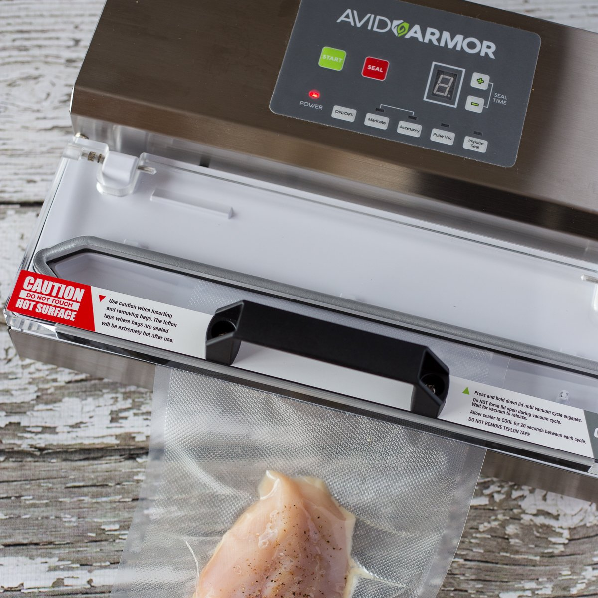 Avid Armor Vacuum Sealer Machine - A100 Stainless Construction, Clear Lid, Commercial Double Piston Pump Heavy Duty 12'' Wide Seal Bar Built in Cooling Fan Includes 30 Pre-cut Bags and Accessory Hose by Avid Armor (Image #6)