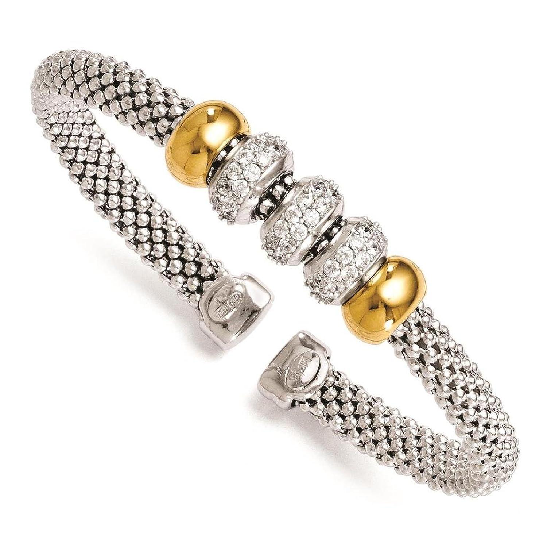 925 Sterling Silver & Gold-tone Polished & Textured Beaded CZ Bangle Bracelet by Leslie's