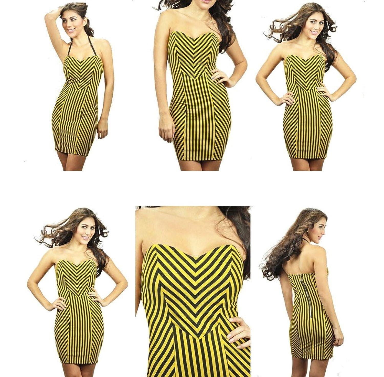 Carmin Rocker Chick Striped Short Dress Yellow Black Stretchy