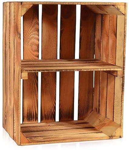 Cajas de madera vintage con estante de Chiccie, flameada ...