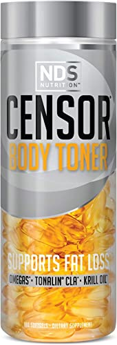 NDS Nutrition Censor – Fat Loss And Body Toner With CLA, Fish Oil, Safflower And Omega 3-6-9 Blend – Dietary Supplement For Improved Energy, Metabolism And Health – 180 Softgels