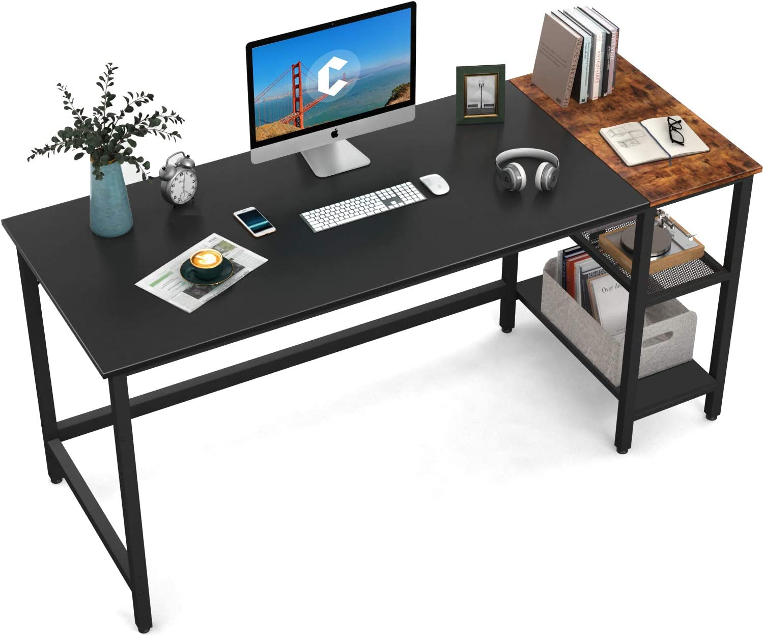 CubiCubi Home Office Computer Desk, 55 Inch Study Writing Table with Storage Shelves, Modern Simple Style PC Desk with Splice Board, Black and Rustic Brown