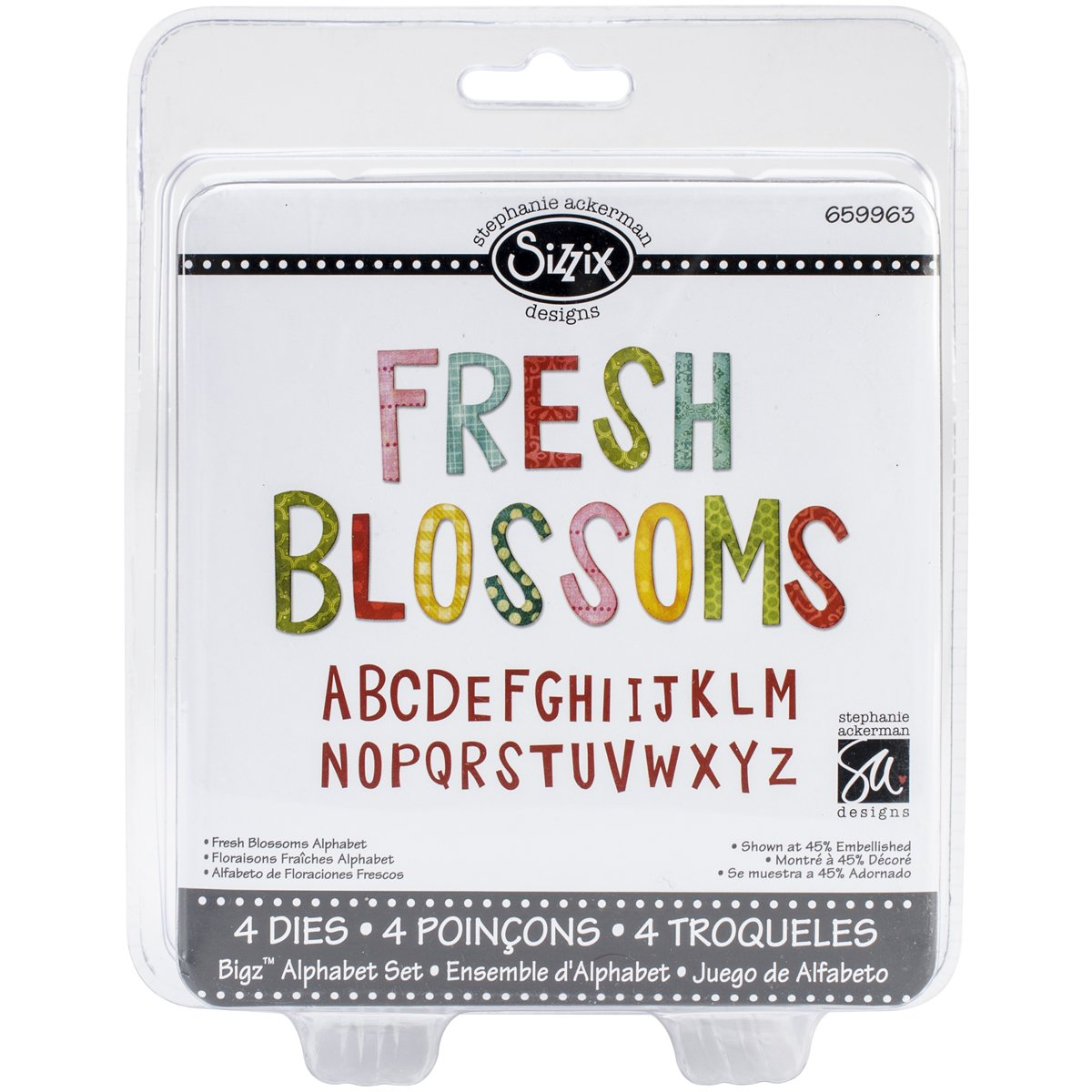 Sizzix 659963 2.375-Inch Fresh Blossoms Bigz Die Set, 5.5-Inch by 6-Inch, 4-Pack