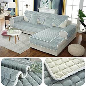 aasdf Plush Quilted Slipcover Sofa Throw, Thick Slipcover Sofa Throw Non-Slip Couch Cover Furniture Sofa Protector Soft Couch Loveseat Chair -Grey 90x70cm (35x28inch)