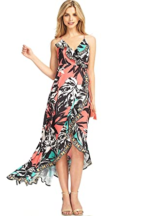 d99eea1b34ae6 Flying Tomato Women's Floral Maxi Dress w Wrap Around Look (L, Coral) at  Amazon Women's Clothing store: