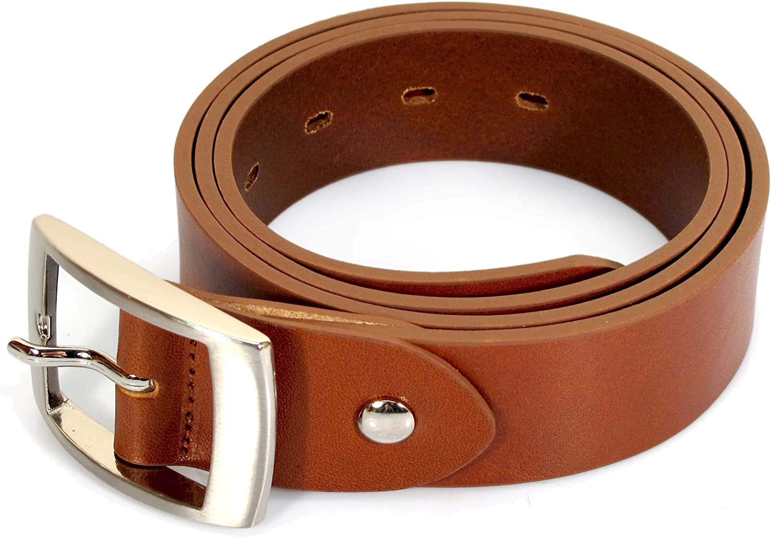 Womens Real Genuine Leather Tan Brown Belt 1.25 Wide S-XL Thick Casual Jeans CW0