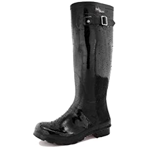 Women's DailyShoes Knee High Hunter Rain Round Toe Rainboots, Black, 9 B(M) US