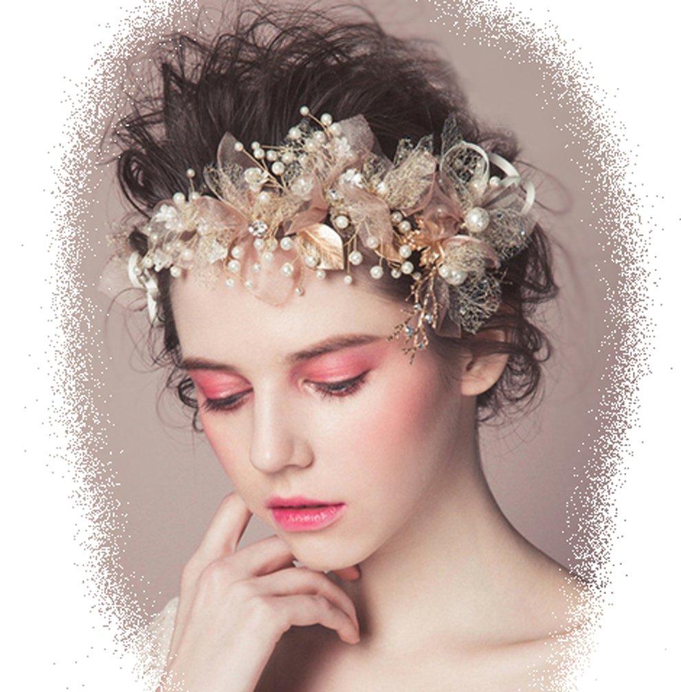 Leslie Li Women's Gorgeous Gold Leaf Bridal Headpiece Sheer Petals Pearl Sprays Crystal Gold/Blush/Champagne 214
