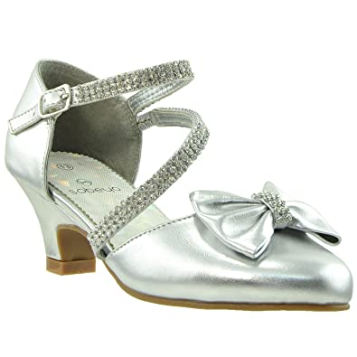7da423ae392a0b Kids Dress Shoes Rhinestone Bow Accent Kitten Heel Sandals Silver SZ 1