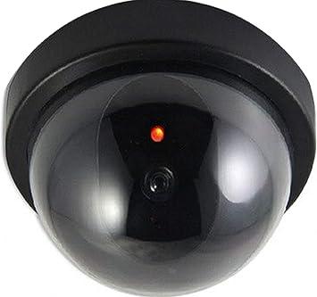 Opinión sobre 2 x Cámara falsa con objetivo de vigilancia, cámara de vigilancia falsa con luz LED roja engañosamente real para pared techo