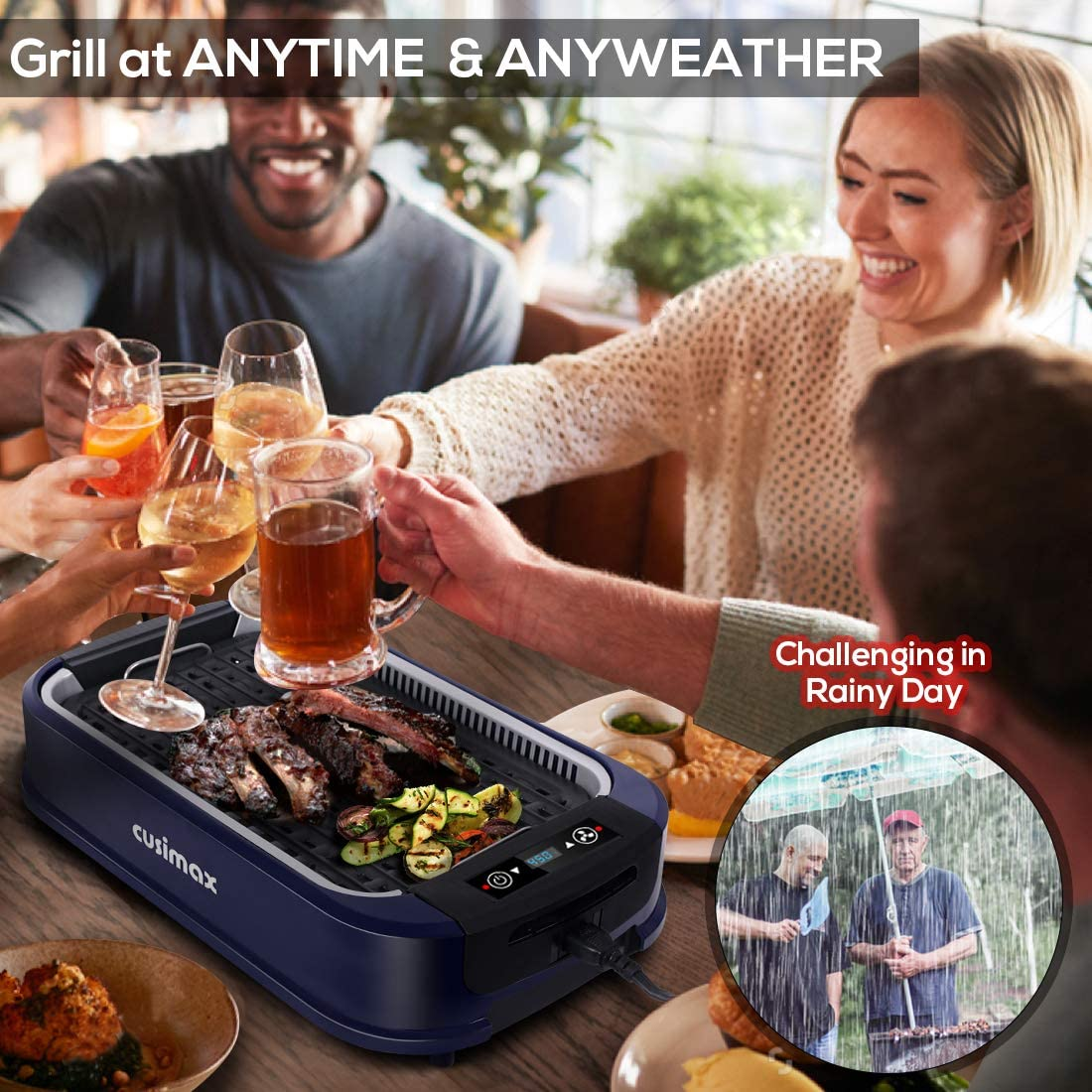 Indoor Grill Electric Griddle CUSIMAX Smokeless Double Plates, Blue