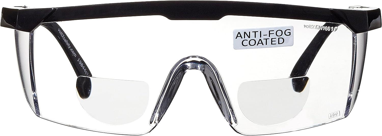 voltX 'Classic' Gafas de Seguridad Bifocales (Transparentes +3,00 dioptría), incluye cordón con tope regulable + Lente UV400 con recubrimiento antivaho