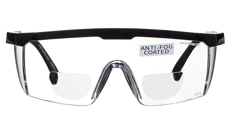 voltX Classic farblose Bifokalschutzbrille +1,0 Dioptrie mit Sicherheitskordel CE EN166F zertifiziert