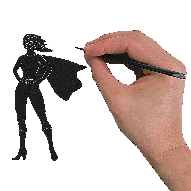 Fun Express Superhero Magic Scratch Shapes and Scratching Sticks - 24 shapes and 12 sticks