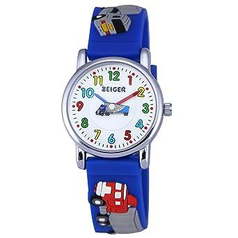 Armbanduhr kinder blau  Zeiger Kinderuhr Auto LKW Kinder Armbanduhren Blau Sportlich ...