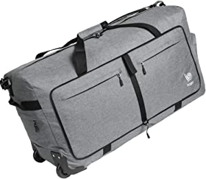 Wheeled Duffle Bag Luggage - 100L Large Rolling Duffel Bag 30 inch Folding Duffle Bag For Travel - Packable Duffle Bag With Rollers (Snow Gray)