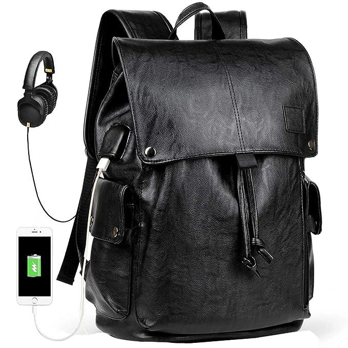 Amazon.com: Mochila para hombre con USB de piel impermeable ...