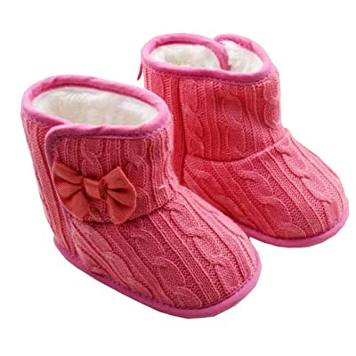 Baby Girl Prewalker Cotton Knit With Bowknot Warm Winter Infant Boots Toddler Shoes