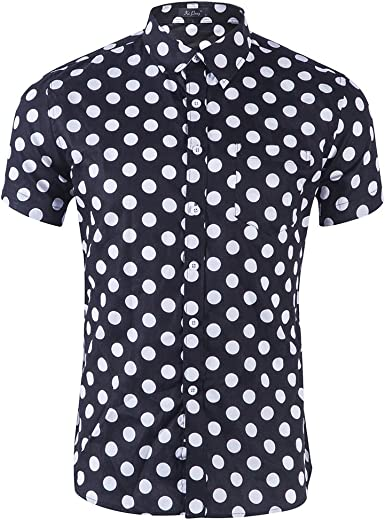 Mens short sleeve Western Fashion button down shirts dotted slim fit