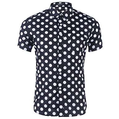 f9292f3a18 CATERTO Men s Premium Polka Dot Print Casual Shirt Short Sleeve Cotton  Shirts Black S