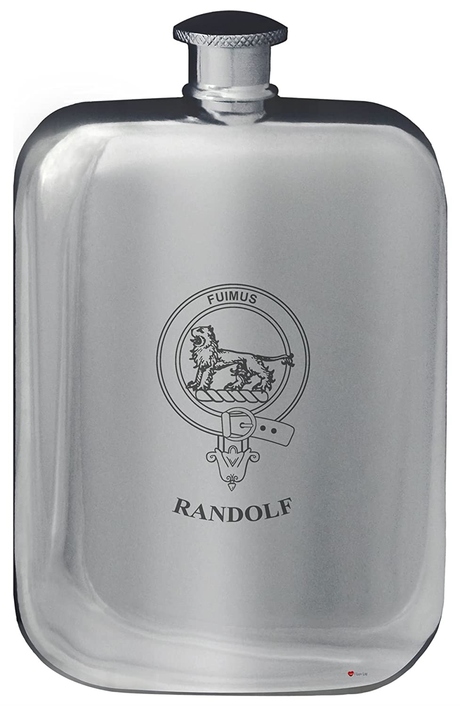 Randolf Crête de famille de conception de poche Flasque en étain poli 6 oz Arrondi I Luv Ltd