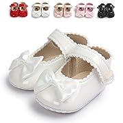 Sabe Infant Baby Girls Soft Sole Prewalker Crib Mary Jane Shoes Princess Light Shoes (11cm(0-6 month), white)