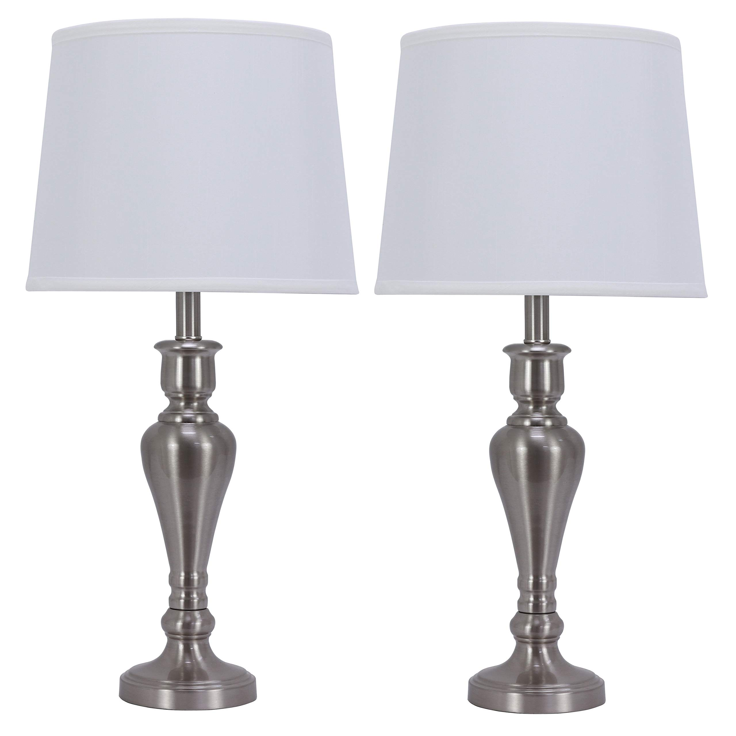 Decor Therapy MP1052 Table Lamps, 13x13x26, Brushed Steel