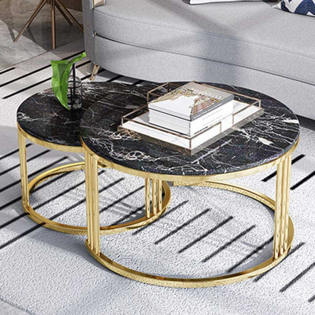 NMDCDH Home Décor Furniture Modern Coffee Table with Faux Marble Top for Living Room, Accent Furniture with Gold Metal Frame, Easy Assembly - Set of 2 Living Room or Lounge