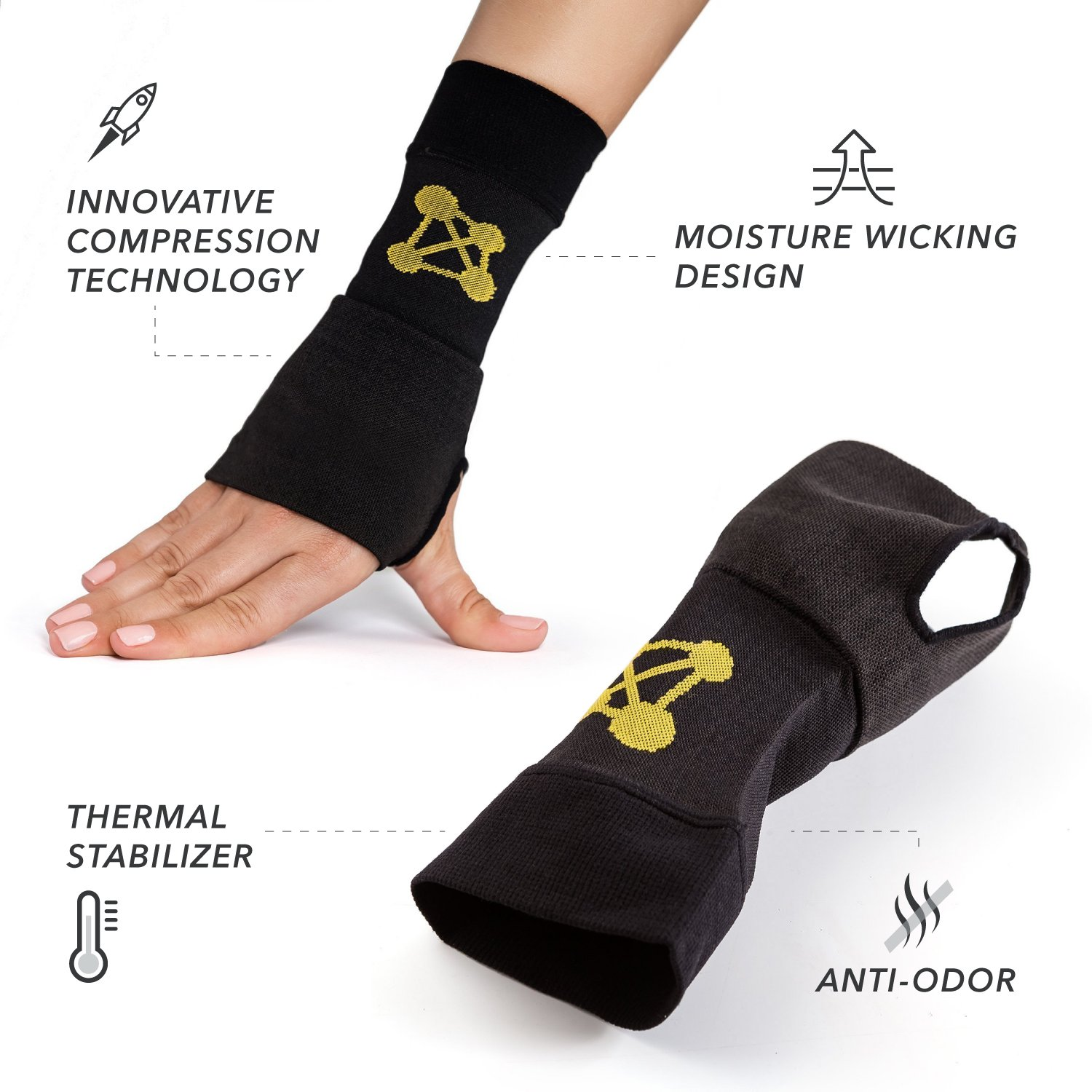 CopperJoint Copper-Infused Compression Wrist Sleeve, High-Performance Design Promotes Improved Circulation to Help Reduce Inflammation and Pain, Single Sleeve (Right, Small) by CopperJoint (Image #3)
