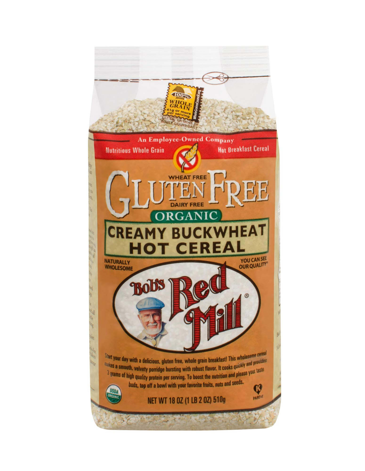 Bob's Red Mill Gluten Free Organic Creamy Buckwheat Hot Breakfast Cereal, 18 Oz (4 Pack) by Bob's Red Mill