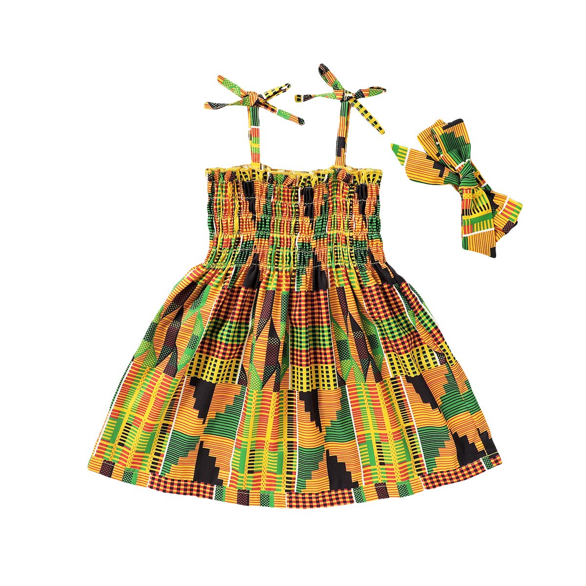 Toddler Kids Baby Girl Dress African Ethnic Style Printed Tradition Infant Dress Up Short Skirt Headband 2Pcs Sets